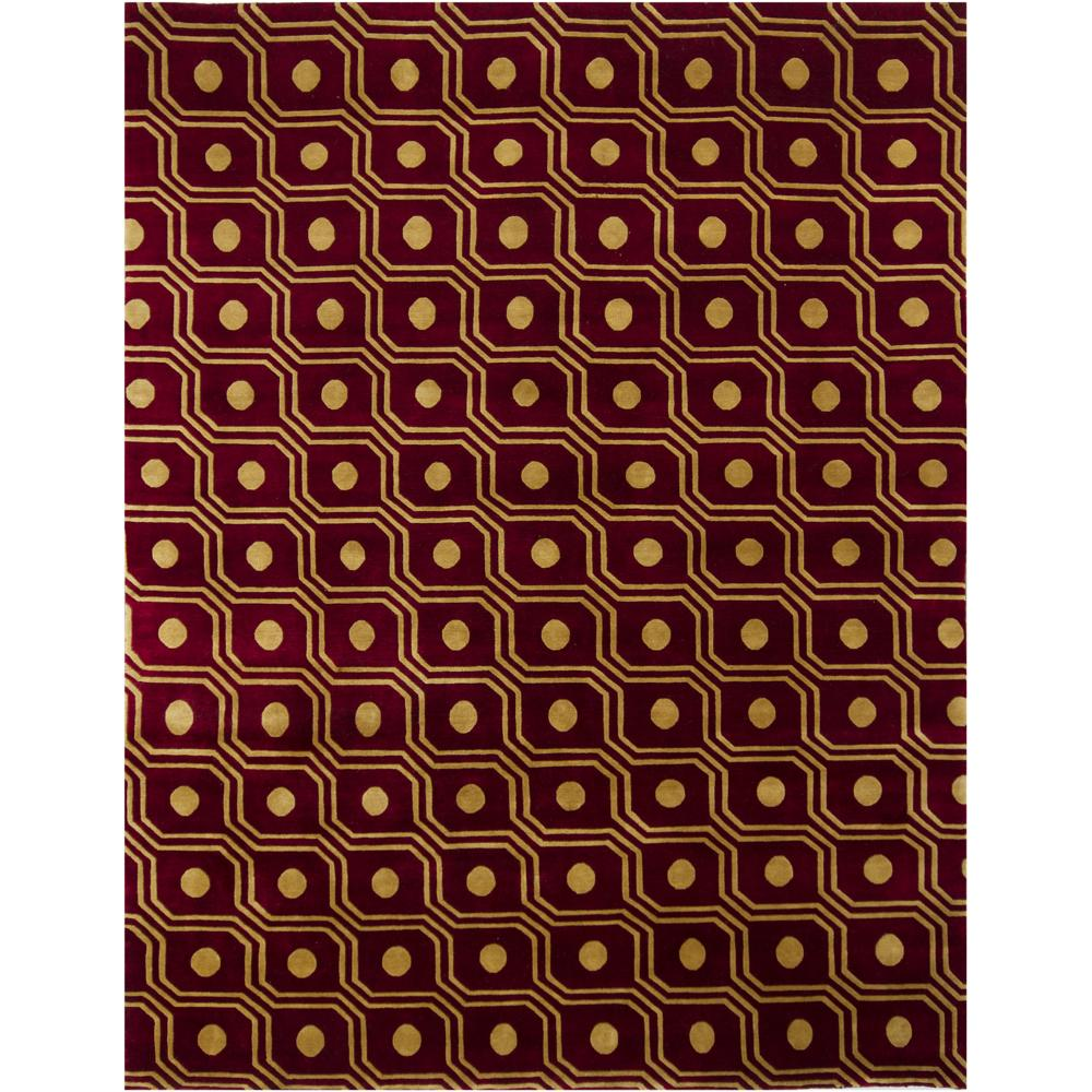 Hand-Knotted Gold/Burgundy Mandara New Zealand Wool Rug (9' x 12')