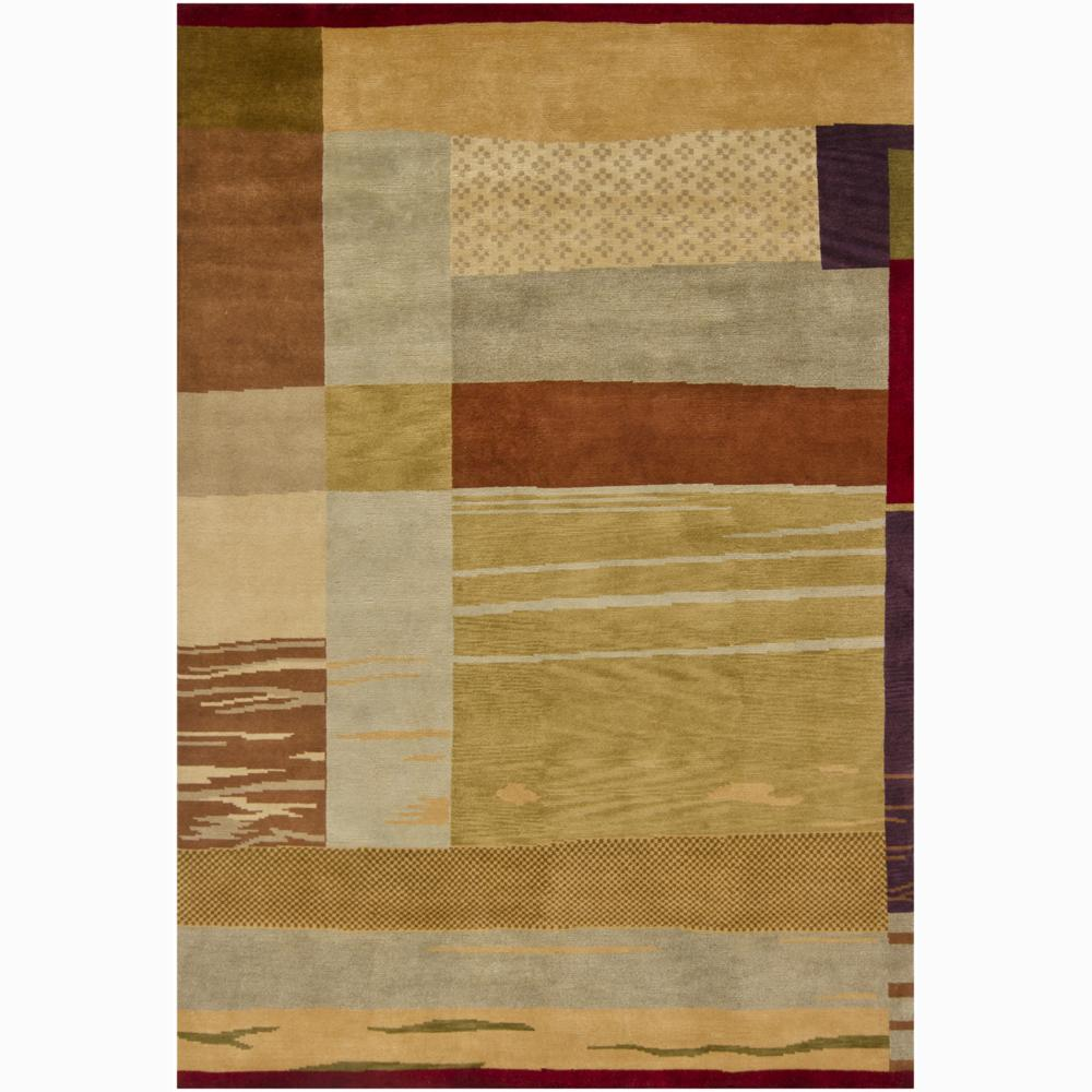 Hand-Knotted Contemporary Mandara New Zealand Wool Rug (9' x 12')