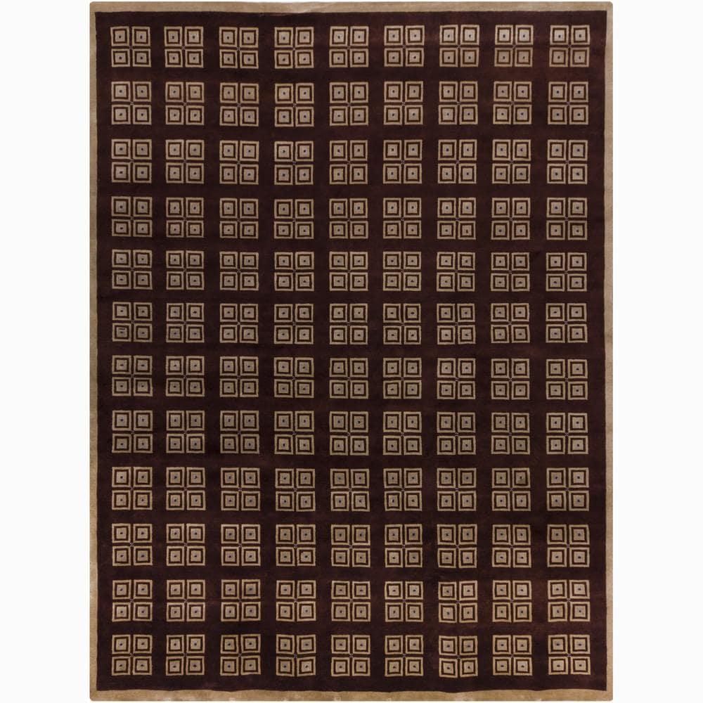 Hand-knotted Mandara Geometric Brown New Zealand Wool Rug (9' x 12')