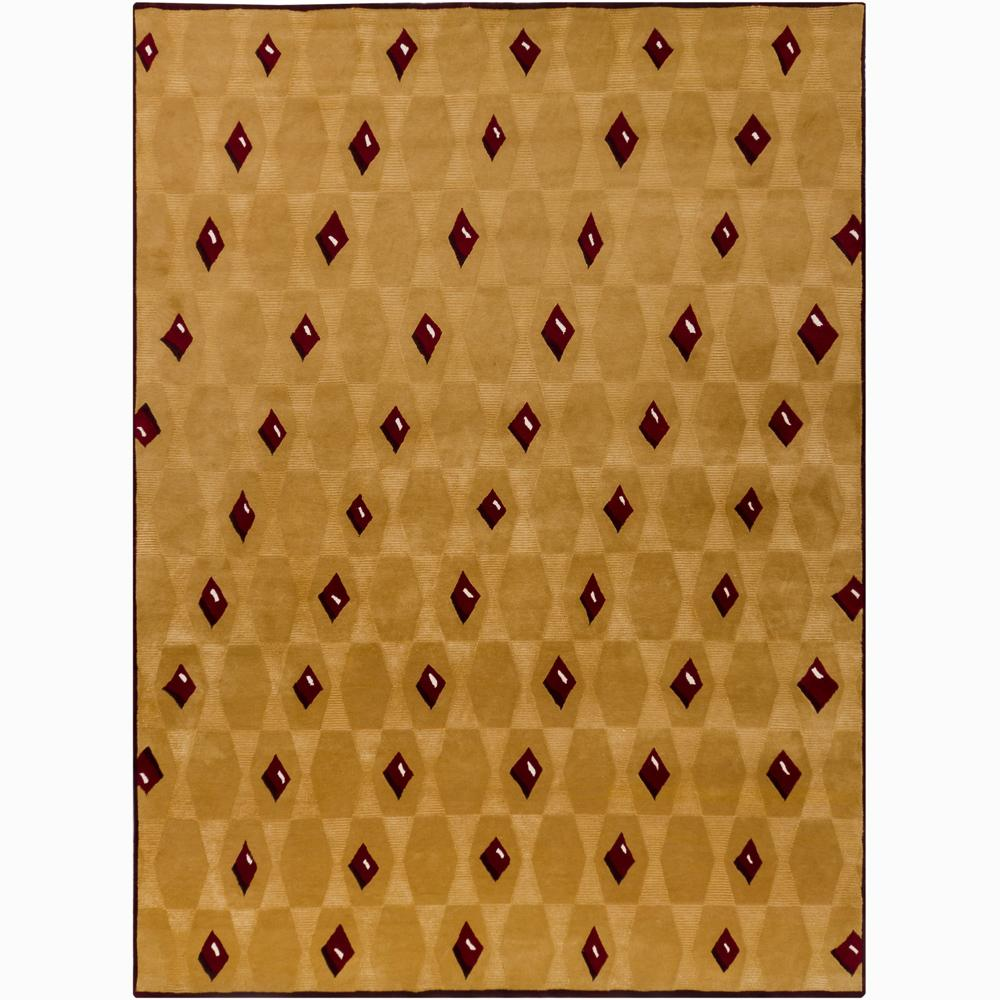 Hand-Knotted Red/White/Burgundy Mandara New Zealand Wool Rug (9' x 12')