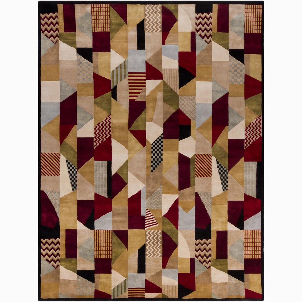 Abstract Hand-Knotted Mandara New Zealand Wool Rug (9' x 12')
