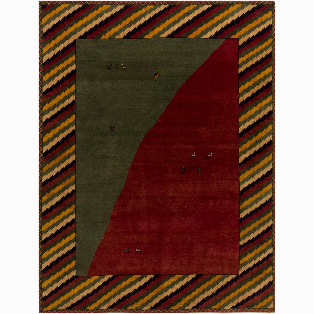 Contemporary Hand-Knotted Abstract Mandara New Zealand Wool Rug (9' x 12')