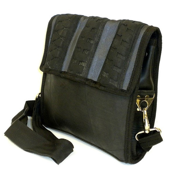 Recycled Urban Tire and Seatbelt Strap Black Messenger Bag (India)