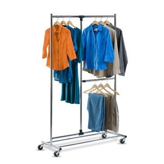 Honey Can Do 2-tier Steel Rolling Garment Rack