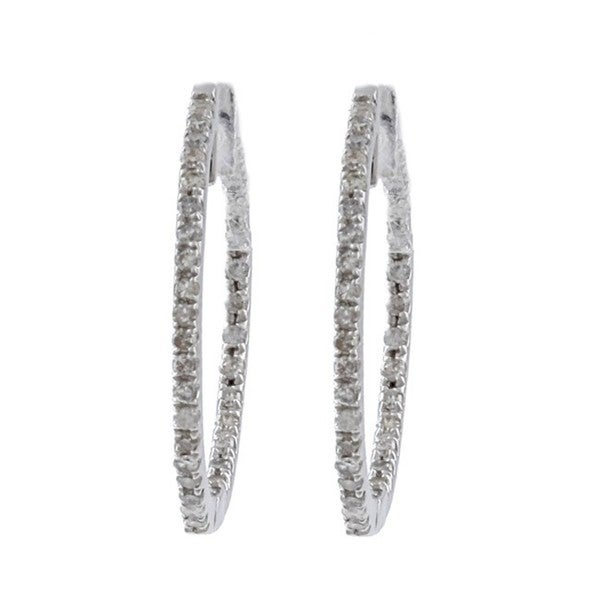 10k White Gold 1/2ct TDW Diamond Hoop Earrings