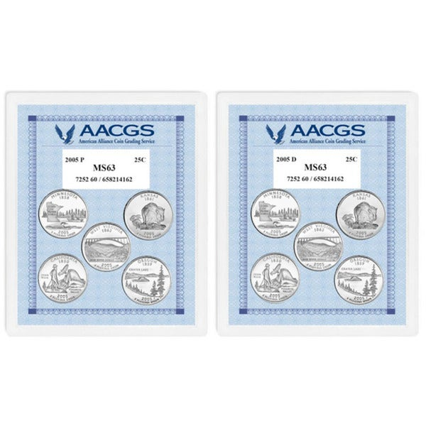 American Coin Treasures Brilliant Uncirculated Statehood Quarters (California, Minnesota, Oregon, Ka