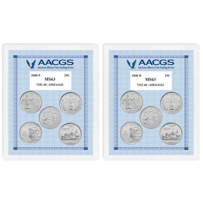 American Coin Treasures Uncirculated Statehood Quarters (Massachusetts, Maryland, South Carolina, Ne