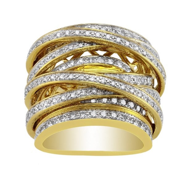 Beverly Hills Charm 10k Yellow Gold 1 1/2ct TDW Diamond Multi-row Crossover Ring