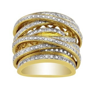10k Yellow Gold 1 1/2ct TDW Diamond Multi-Row Crossover Ring