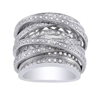 10k White Gold 1 1 2 Carats TDW Multi Row Crossover Diamond Ring By Beverly Hills Charm