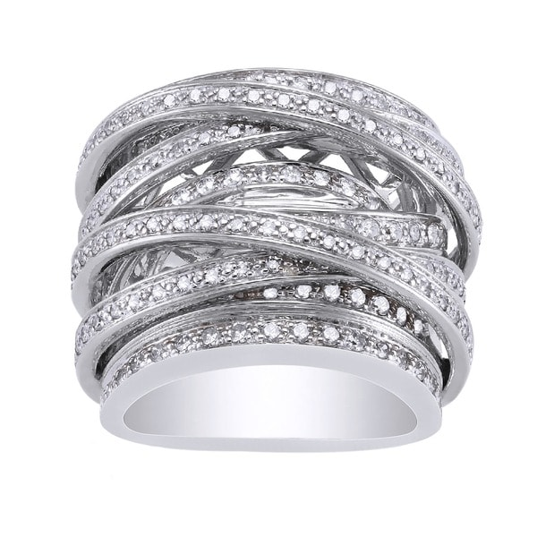 Beverly Hills Charm 10k White Gold 1 1/2ct TDW Diamond Multi-row Crossover Ring (H-I, I1-I2)