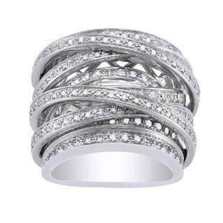 Beverly Hills Charm 10k White Gold 1 1/2ct TDW Diamond Multi-row Crossover Ring