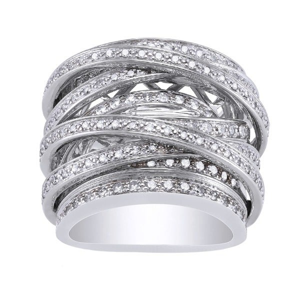 Beverly Hills Charm 10k White Gold 1 1/2ct TDW Diamond Multi-row Crossover Ring
