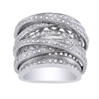 10k White Gold 1 1/2ct TDW Diamond Multi-Row Crossover Ring