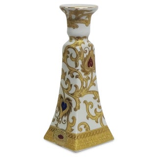 White and Goldtone Scrolls Porcelain Candlestick Holder