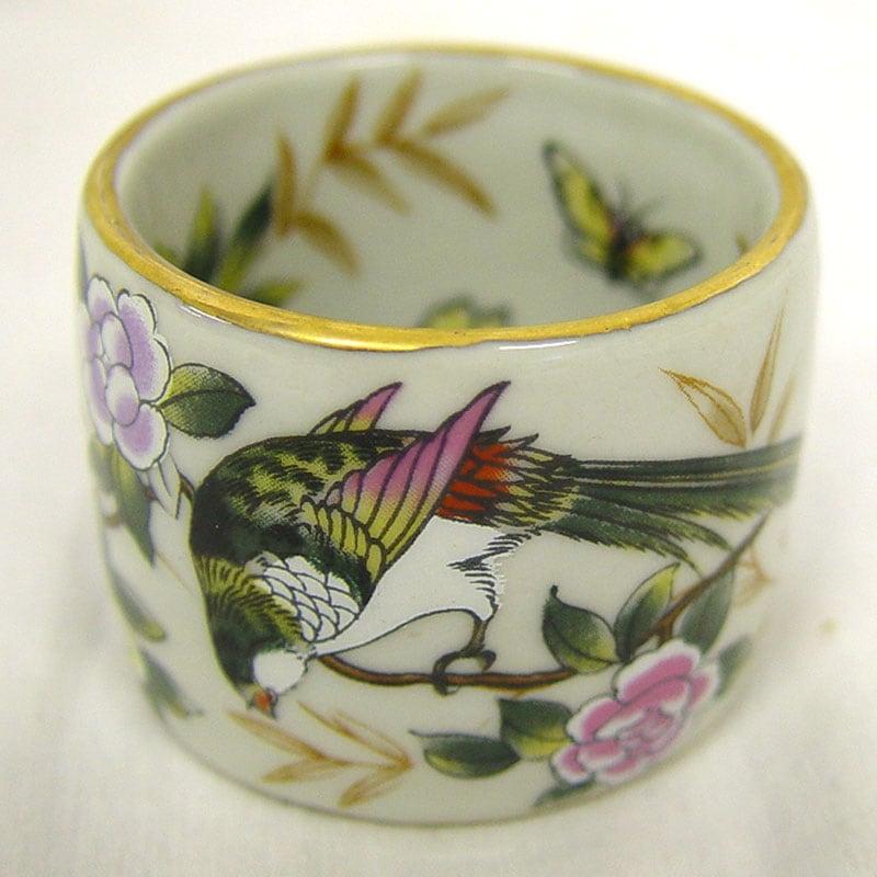 Sylvia Bird-pattern Porcelain Napkin Rings (Set of 4)