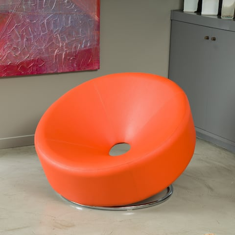 Modern Round Orange Bonded Leather Accent Chair by Christopher Knight Home