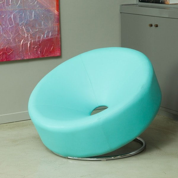 Modern Round Blue Bonded Leather Accent Chair by Christopher Knight Home