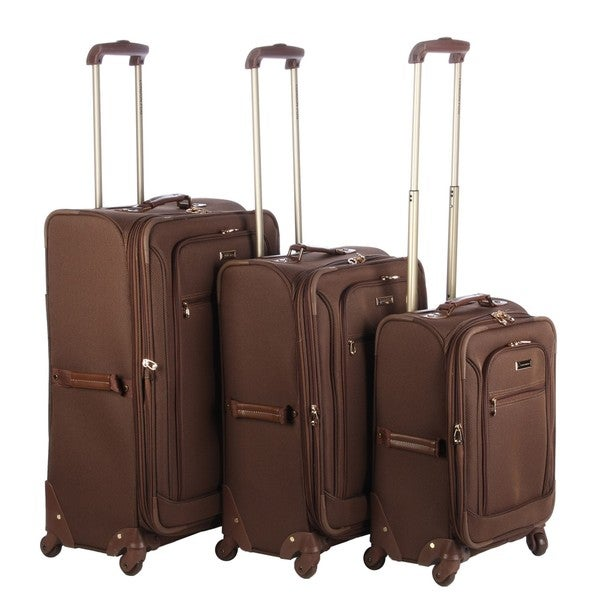 london fog sheffield chocolate lightweight 3piece spinner luggage set - London Fog Luggage