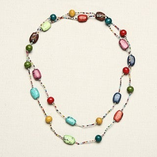 Handmade Clay and Glass Multicolor Beaded Long Necklace (India)