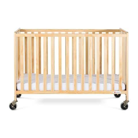 Foundations HideAway Folding Fixed-Side Full-Size Crib-Natural
