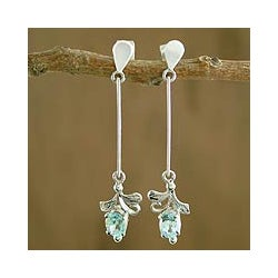 Sterling Silver 'Ice Blue Blossom' Blue Topaz Earrings (India)