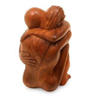 Suar Wood 'Embracing' Sculpture (Indonesia)