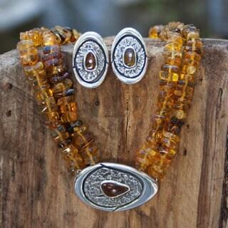Handmade Sterling Silver 'Honey Sea' Amber Jewelry Set (Mexico)
