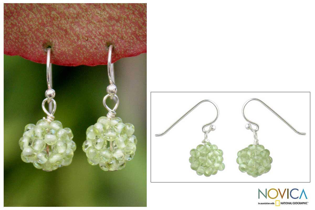 Sterling Silver 'Sweet Green Grapes' Peridot Earrings (Thailand)
