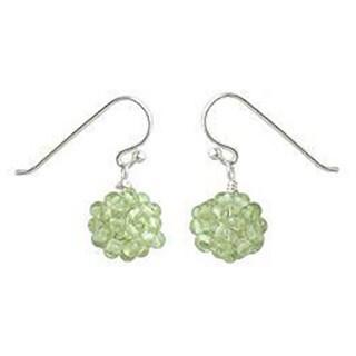 Handmade Sterling Silver 'Sweet Green Grapes' Peridot Earrings (Thailand)