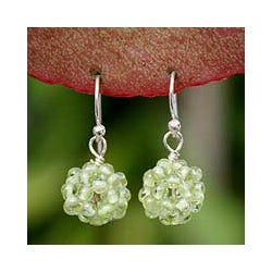 Handmade Sterling Silver 'Sweet Green Grapes' Peridot Earrings (Thailand)