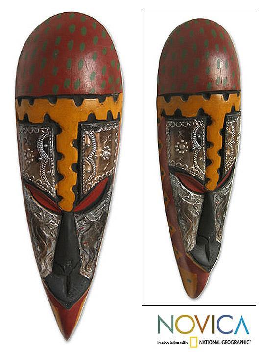 Handcrafted Sese Wood and Brass 'King Olu Badan' African Mask  , Handmade in Ghana