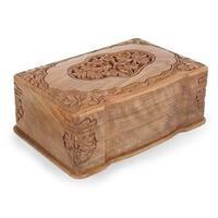 Handmade Walnut Wood 'Ivy Cameo' Jewelry Box (India)