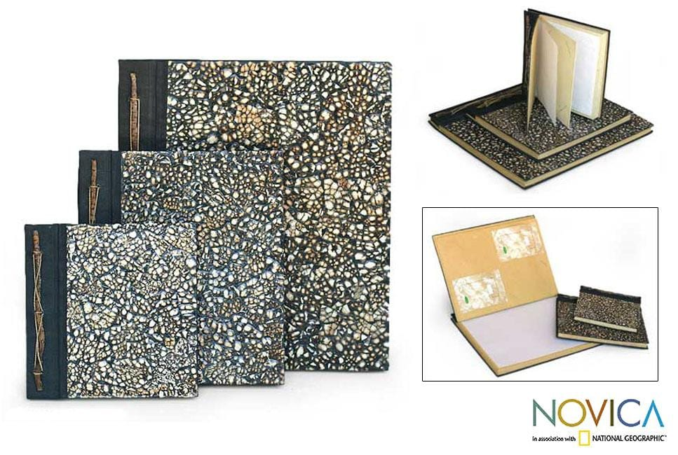 Handmade Set of 3 Eggshell 'Nature's Memoirs' Photo Albums (Indonesia)