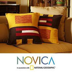 Handmade Set of Two Alpaca Wool 'Wari Art' Cushion Covers (Peru)