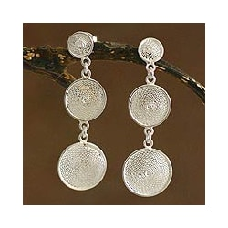 Silver Filigree 'Starlit Moons' Drop Earrings (Peru)