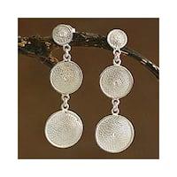 Handmade Silver Filigree 'Starlit Moons' Drop Earrings (Peru)