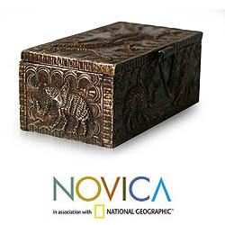 Handcrafted Sese Wood and Aluminum 'Zongo Chief' Jewelry Box (Ghana)