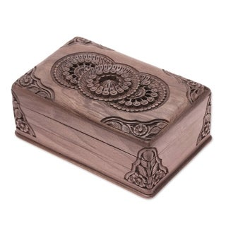 Handcrafted Walnut Wood 'Floral Mandalas' Jewelry Box (India)