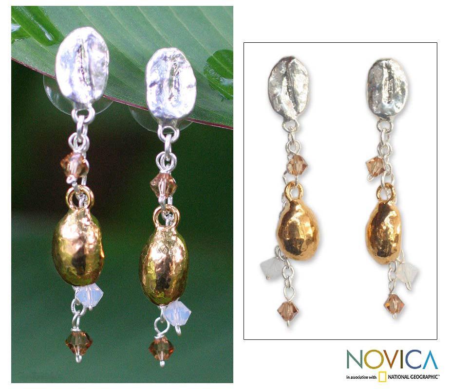 Handmade Silverplated 'Elixir' Natural Coffee Beans Drop Earrings (Thailand)
