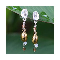 Silverplated 'Elixir' Natural Coffee Beans Drop Earrings (Thailand)
