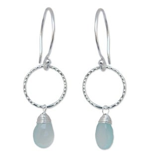 Handmade Sterling Silver 'Mystic Solo' Chalcedony Earrings (Thailand)