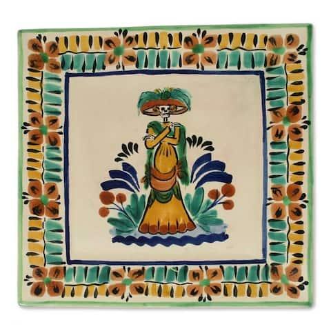 Handmade Ceramic 'Catrina' Majolica Plate (Mexico)