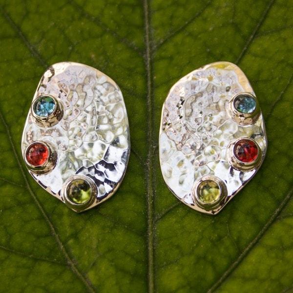 Sterling Silver 'Taxco Harmony' Multi-gemstone Earrings (Mexico)
