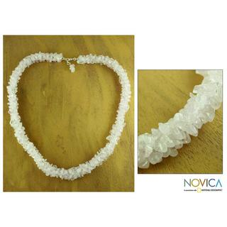 Handmade Sterling Silver 'Aura' Rose Quartz Beaded Necklace (India)