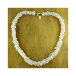 Sterling Silver 'Aura' Rose Quartz Beaded Necklace (India)