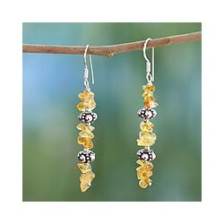 Sterling Silver 'Golden Garland' Citrine Drop Earrings (India)