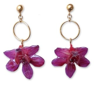 24k Goldplated 'Spring Celebration' Natural Orchid Earrings (Thailand)