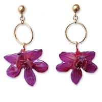 Handmade Goldplated 'Spring Celebration' Natural Orchid Earrings (Thailand)