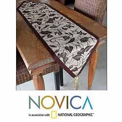 Handmade Set of 4 Natural Fiber 'Bali Flora' Table Runner Placemats (Indonesia) - Thumbnail 1